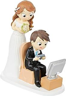 Mopec Figur Brautpaar und Videospielen, Polyresin, weiß, 8.5 x 18.5 x 21 cm