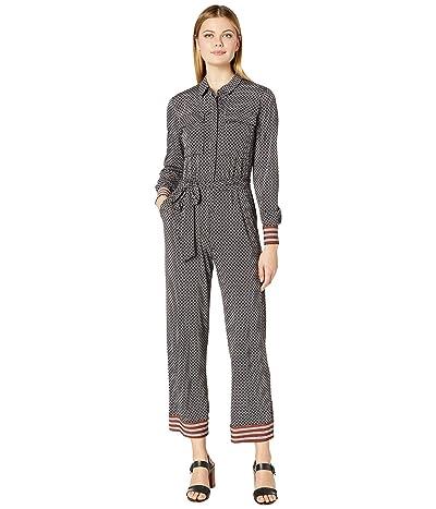 Donna Morgan Long Sleeve Stretch Crepe Self Tie Jumpsuit (Black/Cedar) Women