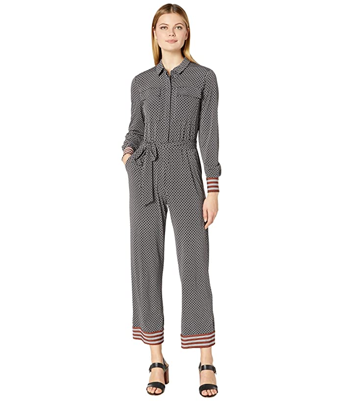 Donna Morgan  Long Sleeve Stretch Crepe Self Tie Jumpsuit (Black/Cedar) Womens Jumpsuit and Rompers One Piece