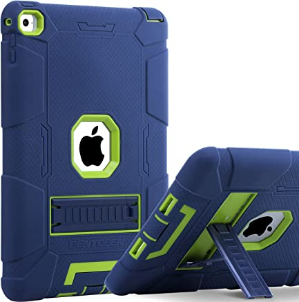 iPad Air 2 Case, BENTOBEN [Hybrid Shockproof Case] with Kickstand Rugged Triple-Layer Shock Resistant Drop Proof Case Cover for iPad Air 2 with Retina Display/iPad 6, Navy Blue/Green