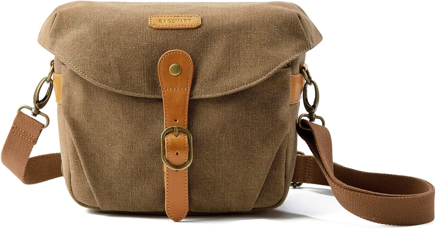 Camera Bag, BAGSMART SLR DSLR Canvas Camera Case, Vintage Padded Camera Shoulder Bag with Rain Cover for Women and Men, Khaki