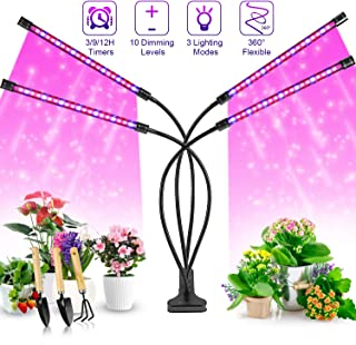 Grow Lights Plant Lights for Indoor Plants, Semai 40W 80 LED Lamp Bulbs, Growing Lamp For Plants Growth with 3/9/12H Timer 10 Dimmable Level 3 Switch Red/Blue Modes Full Spectrum, Adjustable Gooseneck