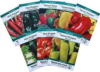 8-Pack Non-GMO Heirloom Sweet Pepper Seeds & Hot Pepper Seeds - Anaheim Pepper Seeds, Habanero Seeds, Banana Pepper Seeds, Bell Pepper Seeds, Jalapeno Seeds, Cayenne Pepper Seeds, Green Pepper Seeds