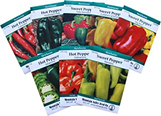 Heirloom Sweet & Hot Pepper Garden Seed Collection - Non-GMO: 8 Varieties - Big Red, Anaheim Chili, Habanero, Jalapeno, Cayenne, More