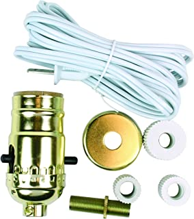 Jandorf 60131 Lamp Kit, Make-A-Lamp with Bottle Adapters Brass Finish, White