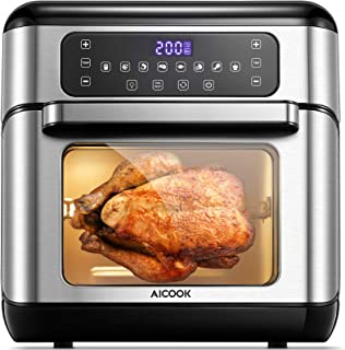 Friteuse sans huile, AICOOK 1500W Friteuse à air chaud , Une Touche Écran Tactile LED, 8 programmes, Minuteur et Températu...