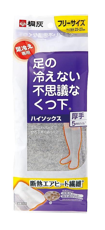 野心旋律的り桐灰化学 足の冷えない不思議なくつ下 ハイソックス 厚手 足冷え専用 フリーサイズ グレー 1足分(2個入)