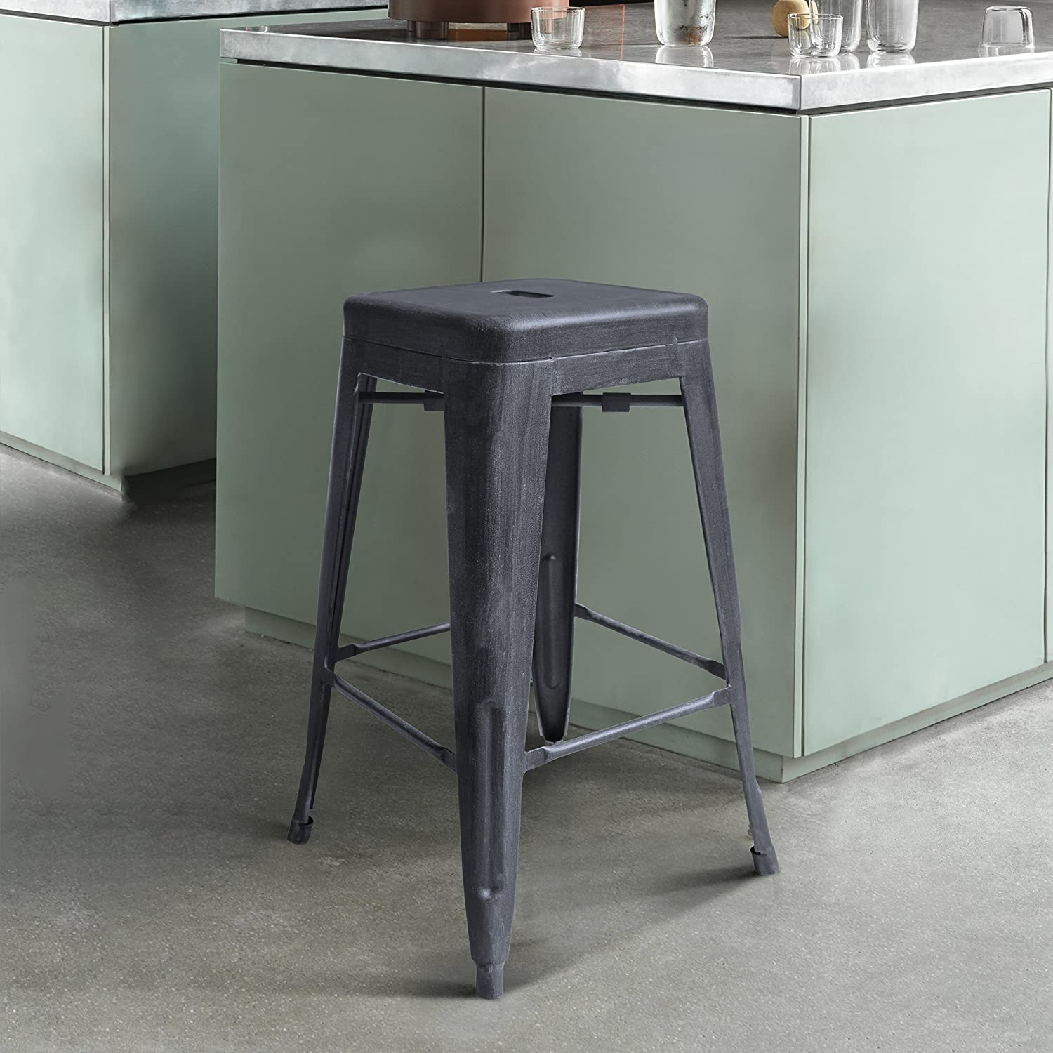 Zed Industrial 26  Counter Height Backless Barstool in Industrial Grey