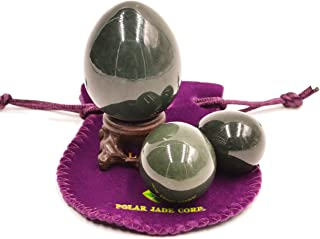 Nephrite Eggs 3-pcs Set, with 3 Sizes, for Yoni Massage, Stone Meditation Relaxation, Crystal Healing, Reiki, Spiritual or As Display Art, By Genuine Jade