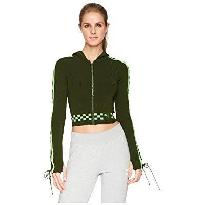 PUMA Puma x Fenty by Rihanna Laced Sleeve Sweater Zip Hoodie (Rifle Green) Women