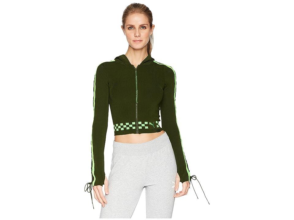 PUMA Puma x Fenty by Rihanna Laced Sleeve Sweater Zip Hoodie (Rifle Green) Women