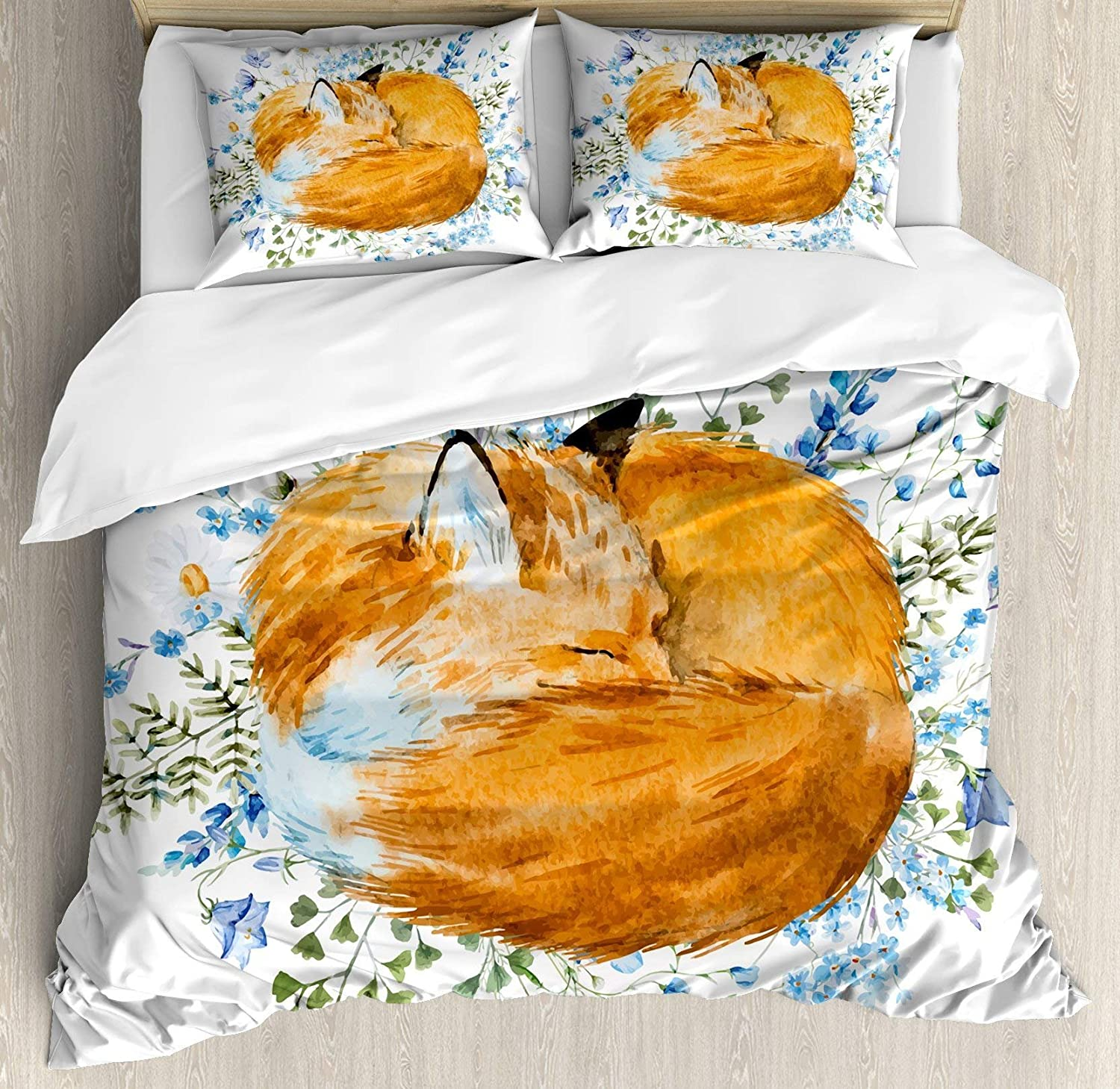 USOPHIA Fox 4 Pieces Bed Sheets Set Full Size, Sleeping Fox in Watercolors Hand Drawn Fresh Wild Flowers Blossoms Artwork Floral Duvet Cover Set, orange bluee Olive Green