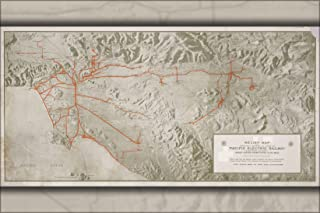 20x30 Poster; Relief Map Of Territory Served By Lines Of The Pacific Electric Railway In Southern California; Largest Electric Railway System In The World 1920