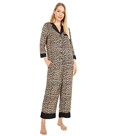 Kate Spade New York Charmeuse Cropped Pajama Set (Small Classic Leopard) Women
