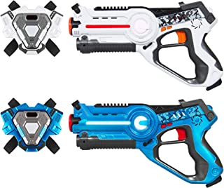 Best Choice Products Set of 2 Laser Tag Blasters w/ Vests and Multiplayer, Blue/White