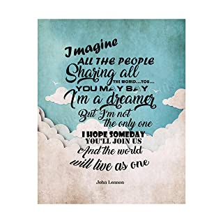 "John Lennon-""Imagine All the People-You May Say I'm A Dreamer""-Song Lyrics Wall Art-8 x 10"" Art Print Ready to Frame. Mode..."