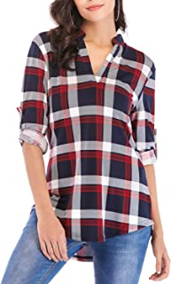 Womens 3/4 Roll Sleeve Shirts Henleys V Neck Plaid Blouse Loose Tunic Tops