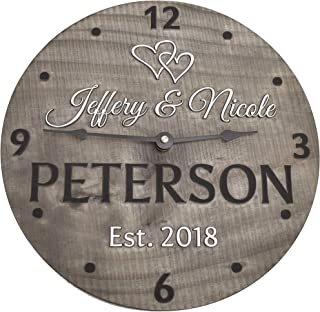 Handmade 11 Inch Wooden Wall Clock Personalized for Couple
