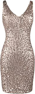 Women's Sexy Deep V Neck Sequin Glitter Bodycon Stretchy...