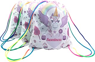 CandyJane 3-PACK Sweetness The Unicorn Drawstring bags backpacks With Rainbow Strap, Birthday Party Favor Bags, Overnight Bags, Treat Bags, Gift Wrapping Bags, Unicorn Party Supplies-Girls, Baby, Kids