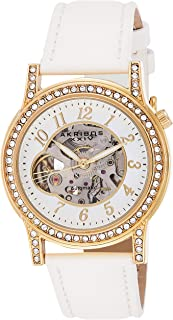 Akribos XXIV Women's Automatic Skeleton Watch - Gold Exhibition Case - Silver and See Thru Dial - White Strap - AK475