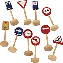 Diset- Bag of Traffic Signs Juguete, Negro, Azul, Rojo, Color Blanco, Madera (50211)
