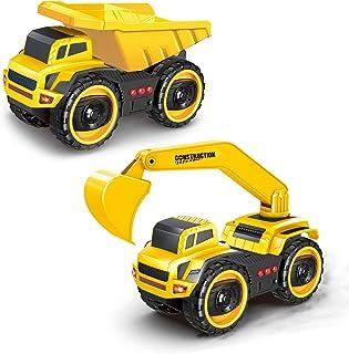 baby 1st Camión de Juguete de construcción 22 cm, Juguetes Modelo Grande para niños y niñas, Juego de 2 Camiones de vehículos para niños de 2 a 3 años +