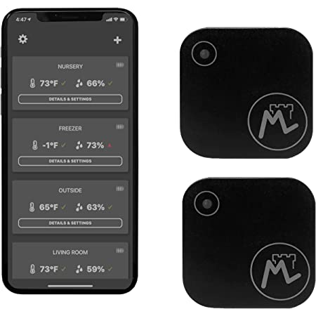 Moat S2 Wireless Temperature & Humidity Bluetooth Smart Sensor (2-Pack) (iPhone/Android) - Thermometer/Hygrometer. Monitor Climate for Your Home, Refrigerator, Humidor, Reptiles, Guitar