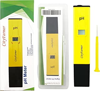 CityFarmer Digital pH Meter, Hydroponic Nutrient Digital pH Meter with 2 Pack of Calibration Solution Mixture Included, Accurate and Reliable, Built-in ATC.