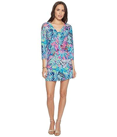 Lilly Pulitzer 3/4 Sleeve Amina Dress (Multi Fantasy Garden) Women