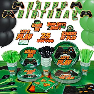 Video Game Party Supplies by Aliza | Boy Teenager Teenage Toddler Kids Birthday Gamer Decorations – Cups Plates Signs Napk...