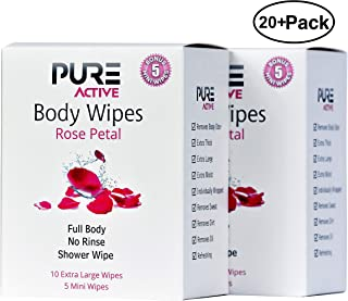 Shower Body Cleansing Wipes - New Pure Active Rose Petal 20 XL+10 Mini Individually Wrapped Personal Hygiene Wipes for Women Perfect Solution to Keep Clean After Gym Travel Camping Outdoors Sports