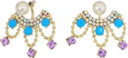 Pearl and Rhinestone Front Back Earrings