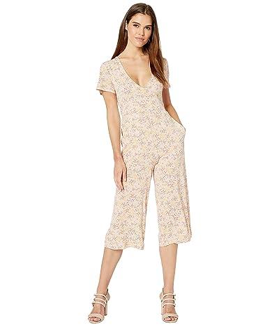 BCBGeneration Knit Short Sleeve Cropped Jumpsuit (Rose Smoke) Women