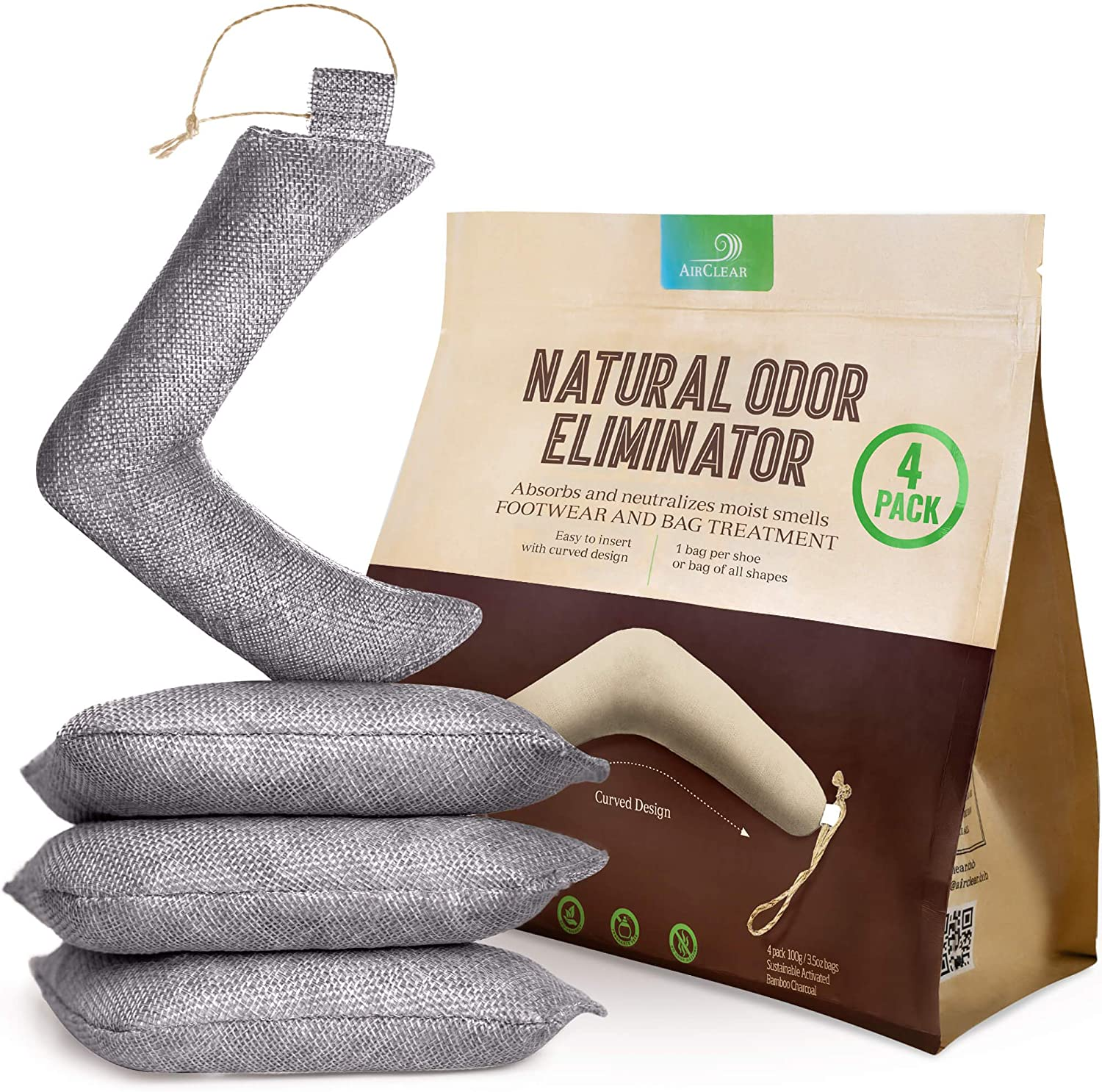 AirClear Bamboo Charcoal Shoe Max 85% OFF Deodorizer Animer and price revision Natural Fresh Ai - Bags