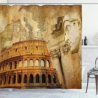 Ambesonne Retro Shower Curtain, Roman Empire Concept Famous Columns Sculptress Colosseum Map of The Nation Print, Cloth Fabric Bathroom Decor Set with Hooks, 70