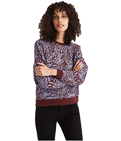 Madewell Zebra Print Sweatshirt (Dark Cabernet) Women