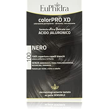 Euphidra Colorpro XD Colorazione Permanente con Acido Jaluronico, Nero - 190 g