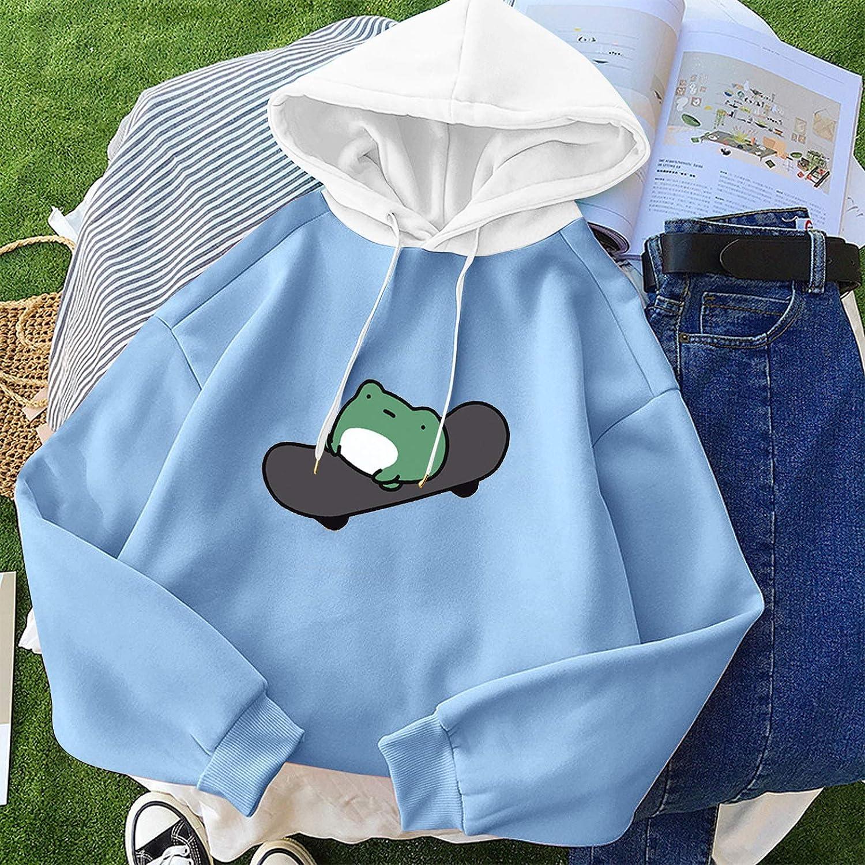 Hotkey Hoodies for Women, Women's Long Sleeve Drawstring Cartoon Frog Pullover Tops Printed Hooded Active Sweatshirts