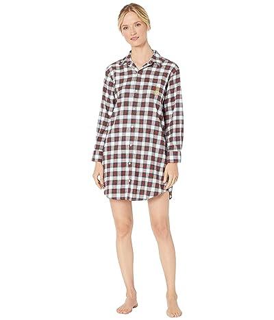LAUREN Ralph Lauren Brushed Twill Long Sleeve His Shirt Sleepshirt (Ivory Plaid) Women