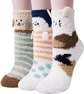3-6 Pairs Womens Fuzzy Socks Winter Warm Fluffy Soft...
