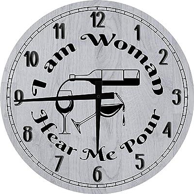 OSG Bar Wall Clock I Am Woman Hear Me Wine Bar Clock Bar Sign Large Gray 18 in Round Wall Clock for Men