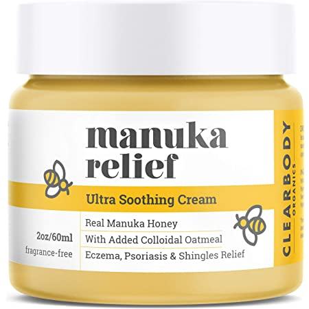 Eczema Psoriasis Cream for Dry Itchy Cracked Irritated Skin- Manuka Honey & Colloidal Oatmeal Treatment for Dermatitis, Shingles, Acne, Rosacea- Natural Anti-itch Relief for Kids, Adults, Baby Eczema