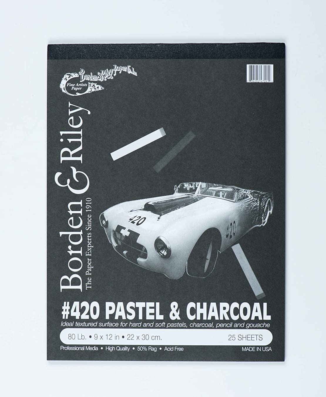 Borden & Riley #420 Charcoal and Pastel Pad, 9 x 12 Inches, 80 lb, 25 Portrait-Black Sheets, 1 Pad Each (420P091225)