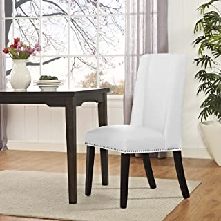 Modway Baron Modern Tall Back Wood Faux Leather Upholstered Parsons Kitchen and Dining Room Chair with Nailhead Trim in White