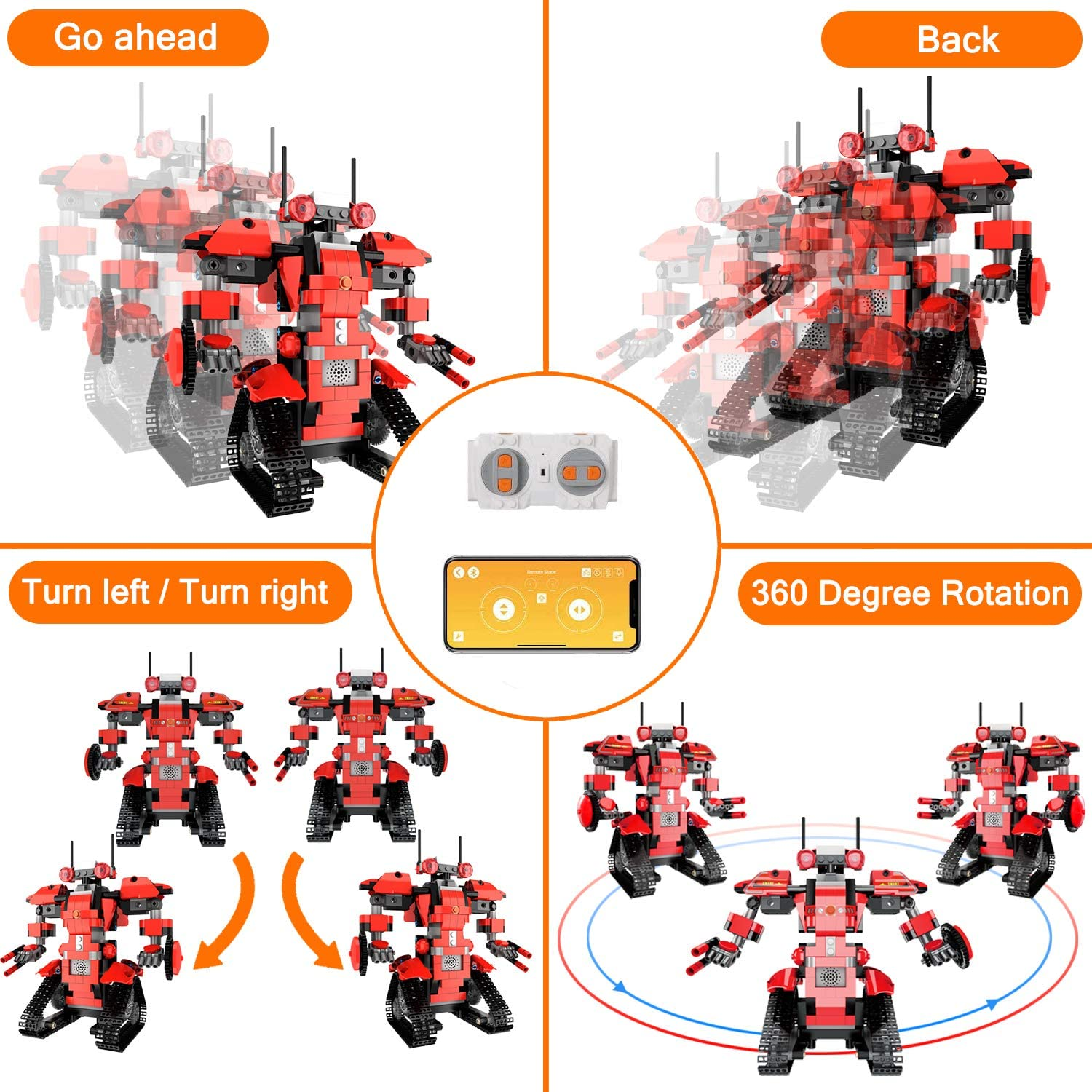 Fun Educational Remote Control Toy with App Control for Learning for 8 9 10 11 12 13 14 Year Old Boys and Girls STEM Robot Toys for Kids Dark Blue Cool Science Building Block Kit for Boy and Girl