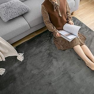KINGBOS ラグ カーペット 洗える ラグマット 滑り止め ラグ 135×185cm(約1.5畳) カーペット オールシーズンタイプ フランネル 絨毯 床暖房 ホットカーペット対応 無地・グレー
