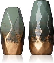TERESA'S COLLECTIONS Ceramic Flower Vases Set of 2, Handmade Modern Geometric Decorative Vases for Home Decor (Green and G...
