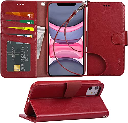 Arae Case for iPhone 11 PU Leather Wallet Case Cover [Stand Feature] with Wrist Strap and [4-Slots] ID&Credit Cards P...