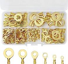 150 piezas de terminales de anillo para coche, conectores de cable eléctrico de latón, conectores de cable de crimpado, te...